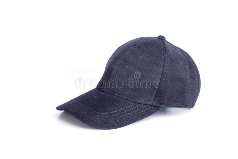 Close up new black baseball hat isolated on white stock photography
