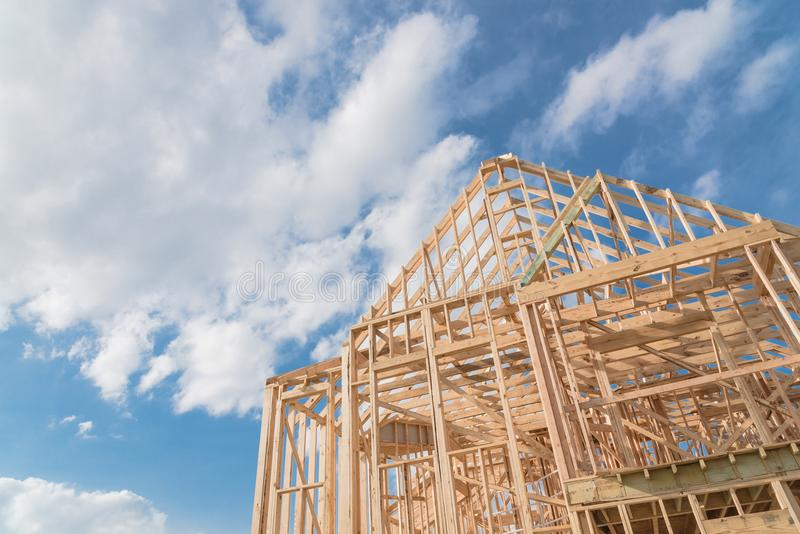 Close-up new build gables roof wooden truss, post, beam framework royalty free stock photography