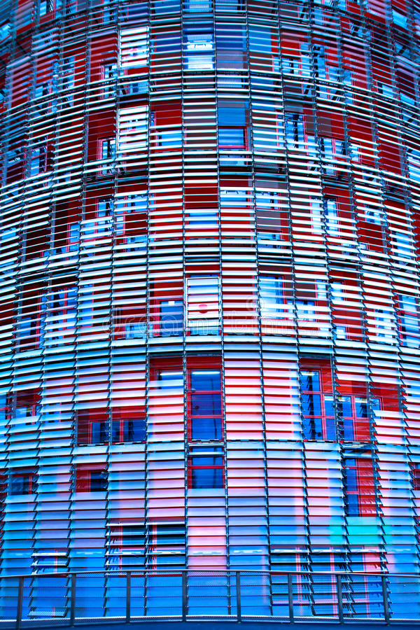 Close-up of new skyscraper Torre Agbar. Barcelona, Spain stock images