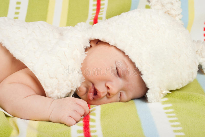 Download Close Up Of Baby With Fur Bunny Hat Stock Image - Image: 30096013