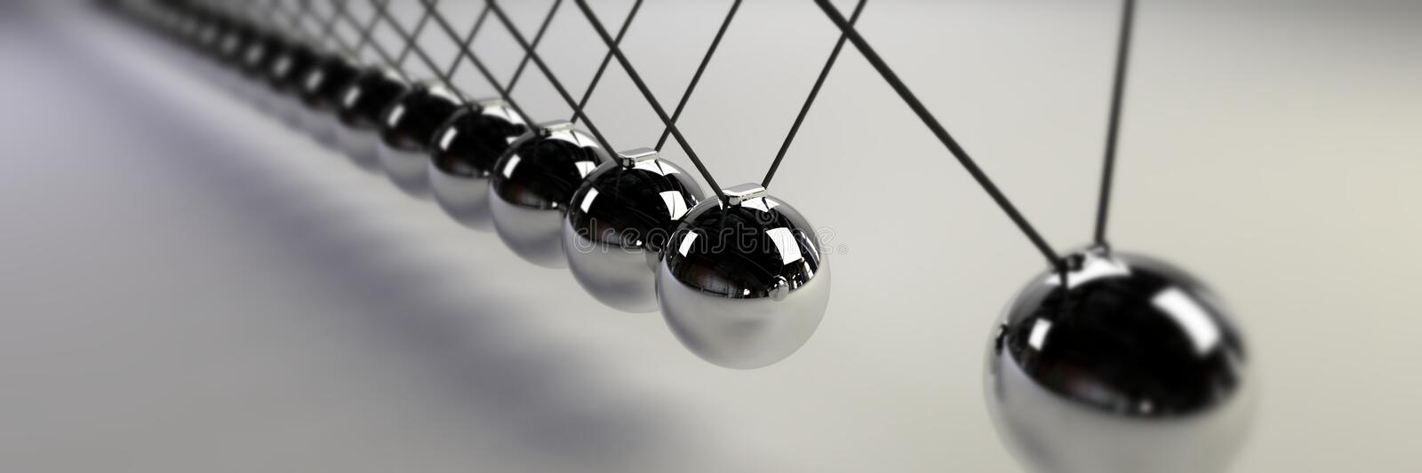 Newton cradle, cause and effect concept, steel infinity Newton`s cradle banner stock photos