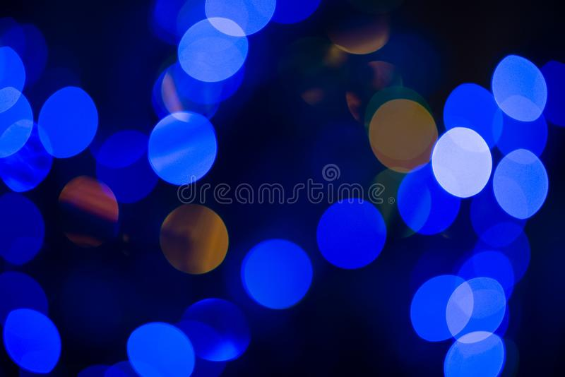 Close up of nice multicoloured colorful bubles of christmas tree in dark light background, New Year, christmas mood stock image