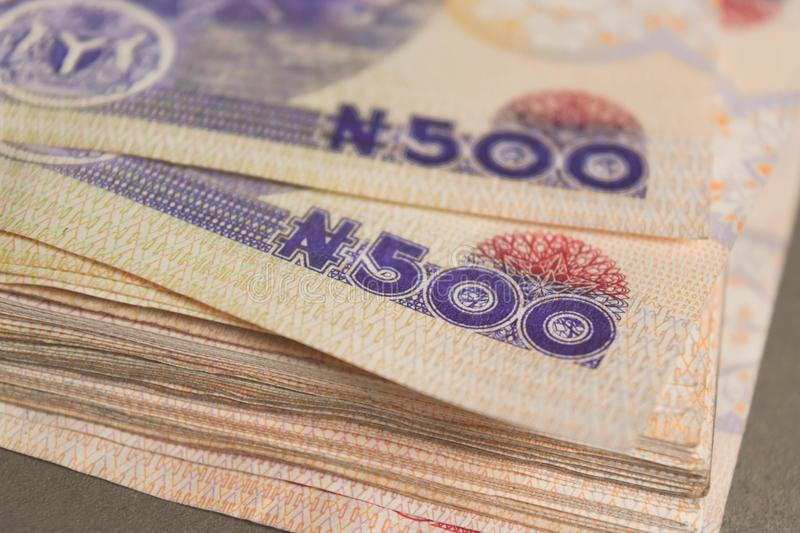 Close up Nigerian five hundred naira notes. For savings and investment concept for banking royalty free stock photo