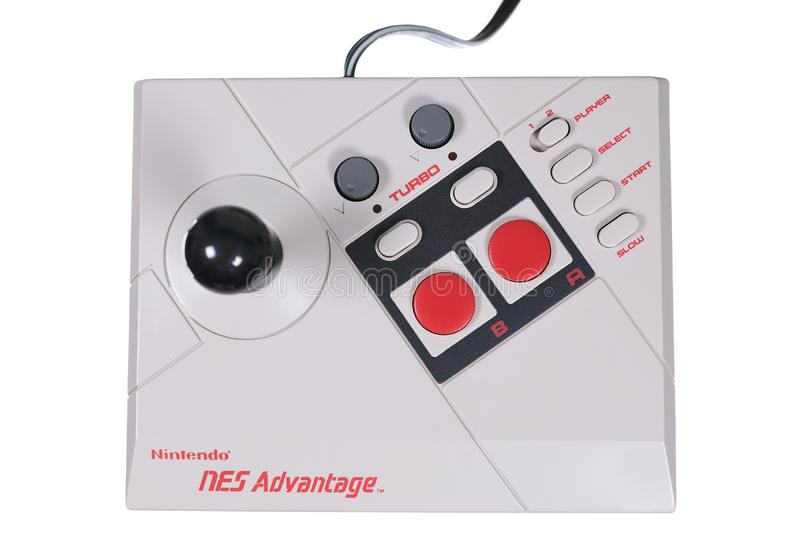 A Close-Up of a Nintendo NES Advantage Video Game Joystick royalty free stock images