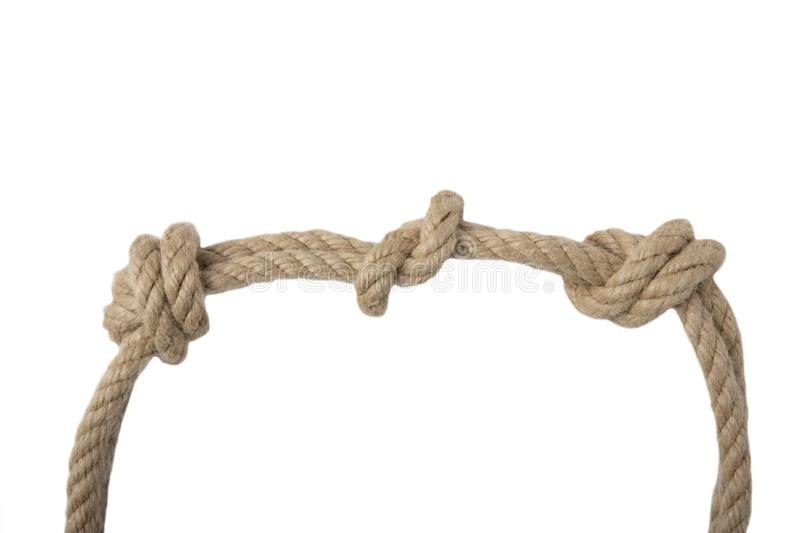 Close-up of node or knot from two ropes isolated on a white back stock photography