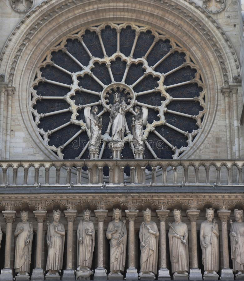 Close-up of Notre Dame with a window stock photography