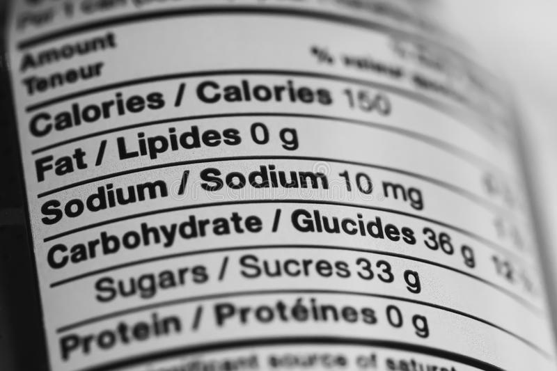 Close up of Nutritional Information Label royalty free stock images