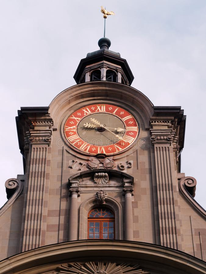 Free Close-up Of 18th Century Clock Tower In Lausanne, Switzerland Stock Photos - 164947813