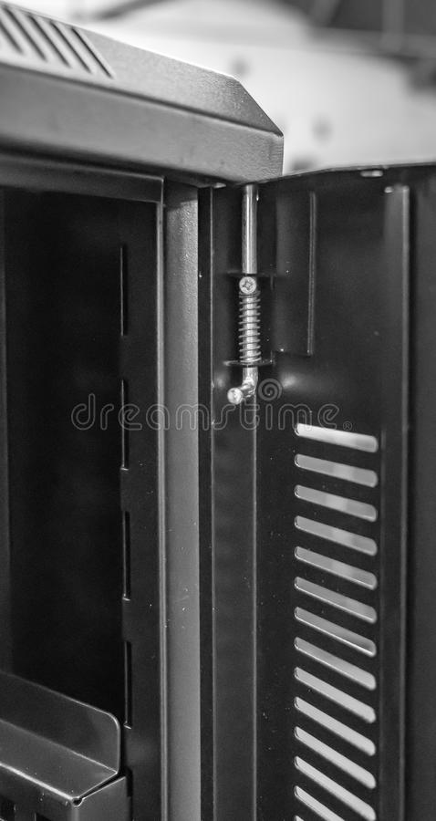 Free Close-up Of An Opened Computer Server Cabinet Showing The Spring Hinge System. Stock Photo - 107887730
