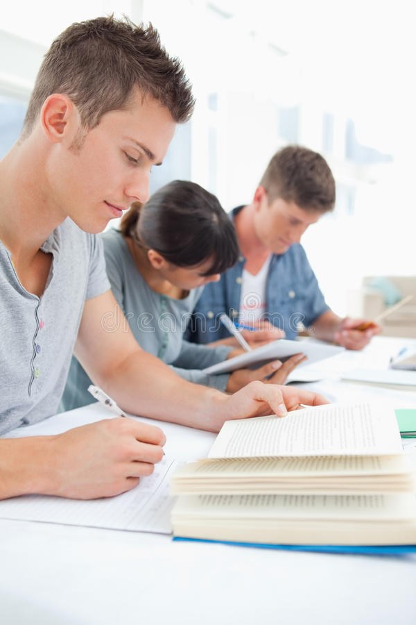 Free Close Up Of Three Students Studying Hard Royalty Free Stock Images - 25335899