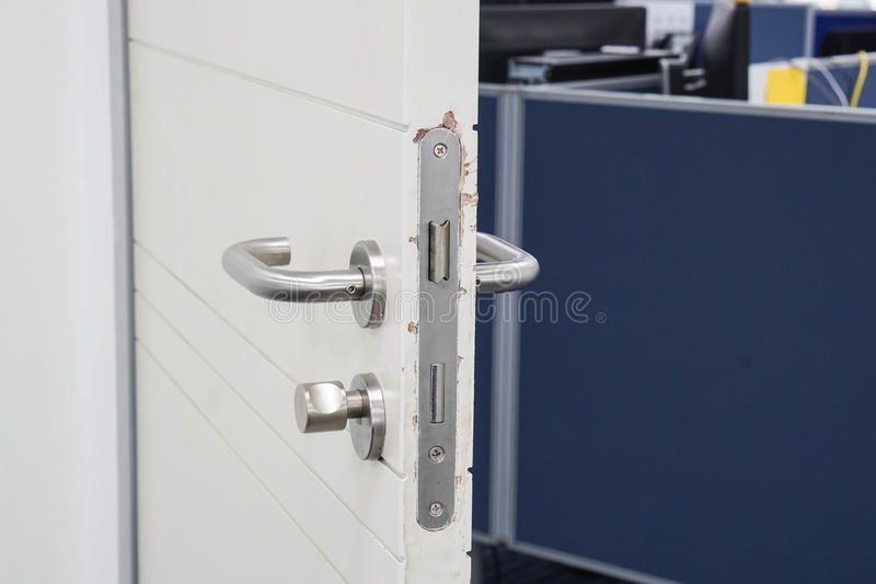 Close up office door keep opening. For entry stock image