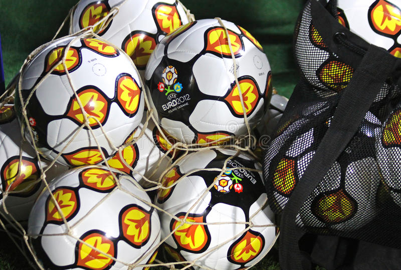 Close-up official UEFA EURO 2012 balls royalty free stock photos