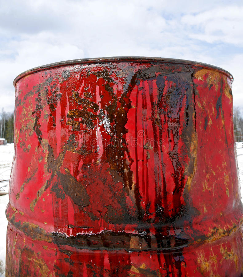 Close up oil in red barrel. On the background of blue sky royalty free stock images