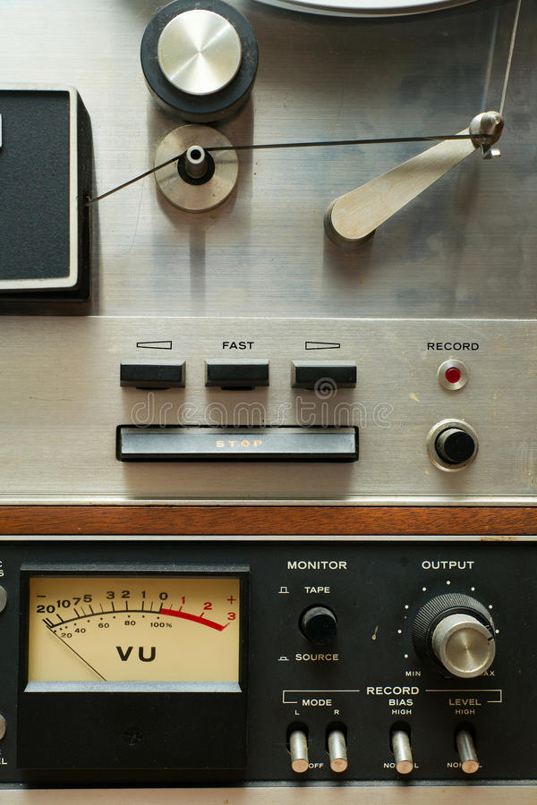 Close up of Old Analog Reel to Reel Tape Deck royalty free stock photo