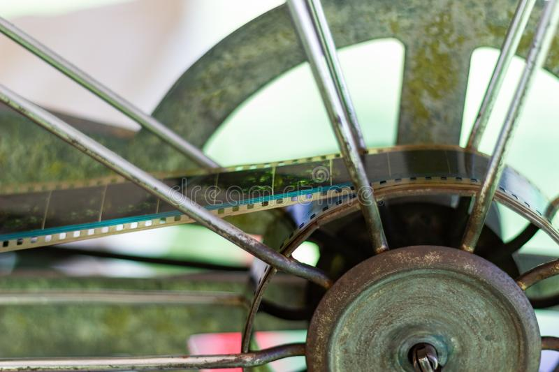 Close up - The old analog rotary film movie projector royalty free stock photography