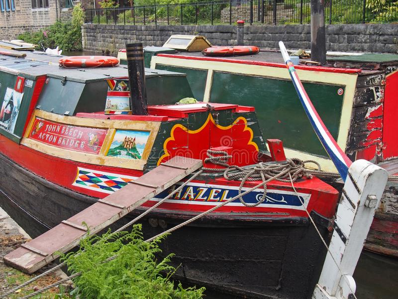 A close up of old barges at the narrow boats club gathering held on the may bank holiday on the rochdale canal at hebden bridge in. Hebden bridge, west yorkshire royalty free stock photography