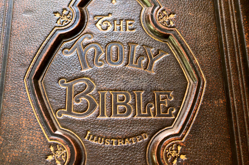 Download Close Up Of An Old Bible Cover Stock Image