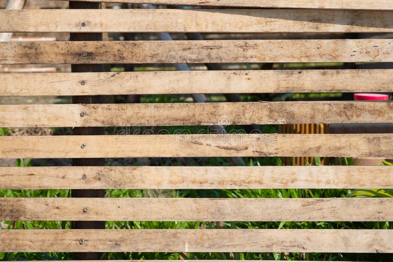 Close up of old brown wood lath with natural striped background and texture. Surface stock photo