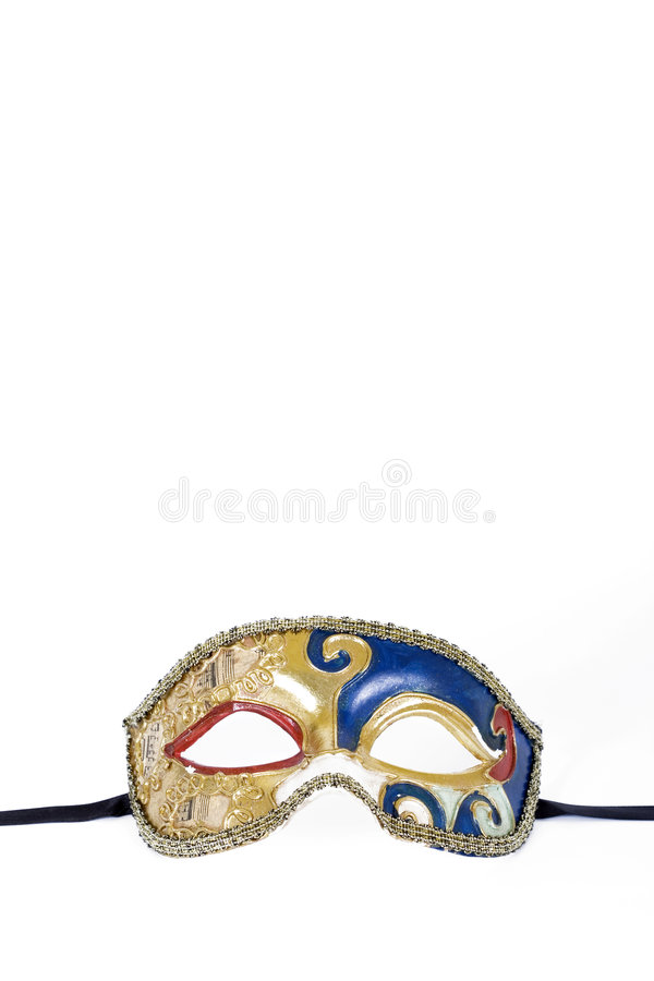 Close up of an Old carnival mask. Close up of an Old venetian carnival mask on white background royalty free stock images