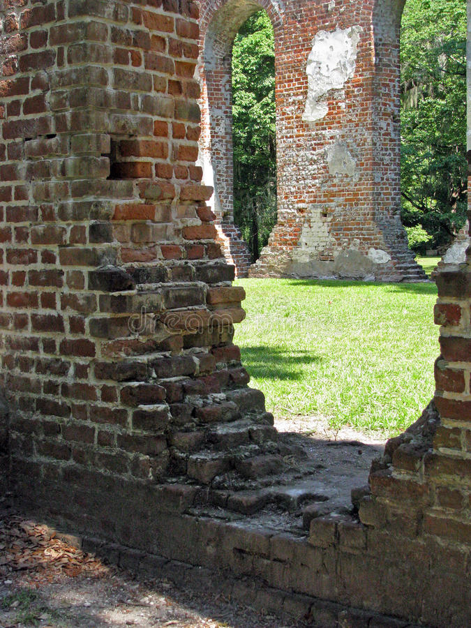 Close Up of Old Church Ruins stock photography