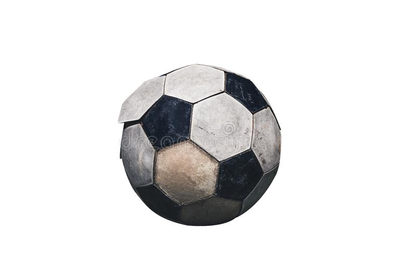 Close up of old and dirty soccer ball. Isolated on white background. stock photos