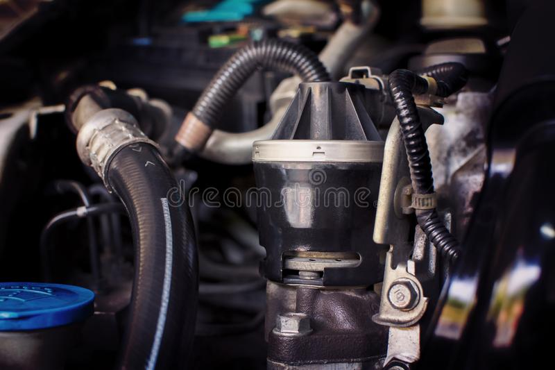 Close up of The old Exhaust gas recirculation in the engine comp royalty free stock photos