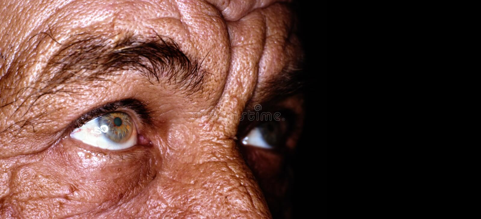 Close up of old man eyes