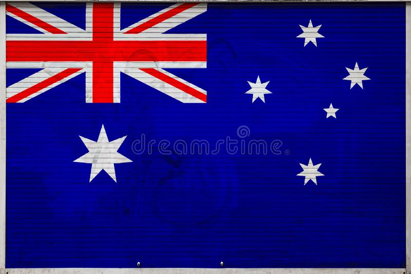 Close-up of old metal wall with national flag stock illustration
