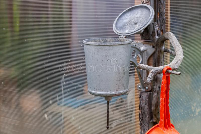 Close-up of an old metal washbasin royalty free stock photo