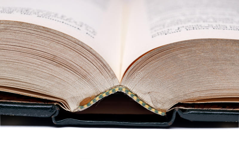 Close up of an old open book