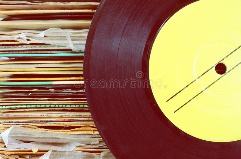 Download Close Up Of Old Record And Records Stack Pic Stock Photo - Image: 39050078