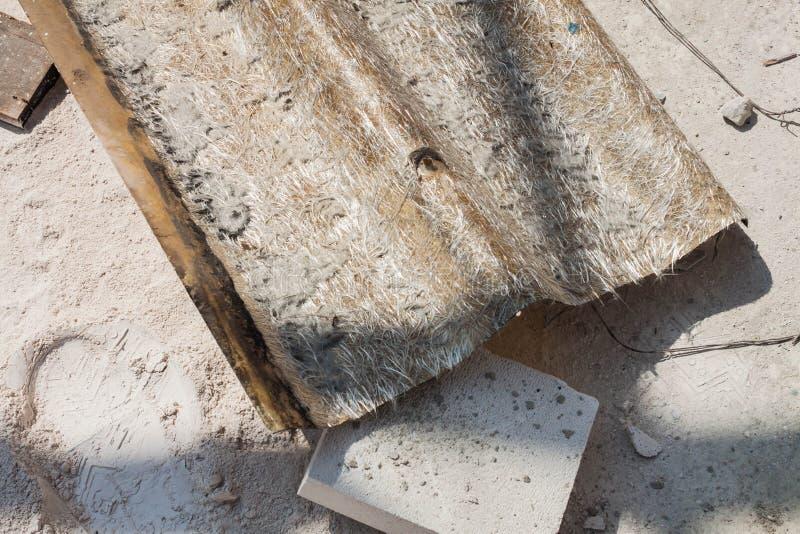 Old roofing tile of fiber glass. Close up old roofing tile of fiber glass royalty free stock photos
