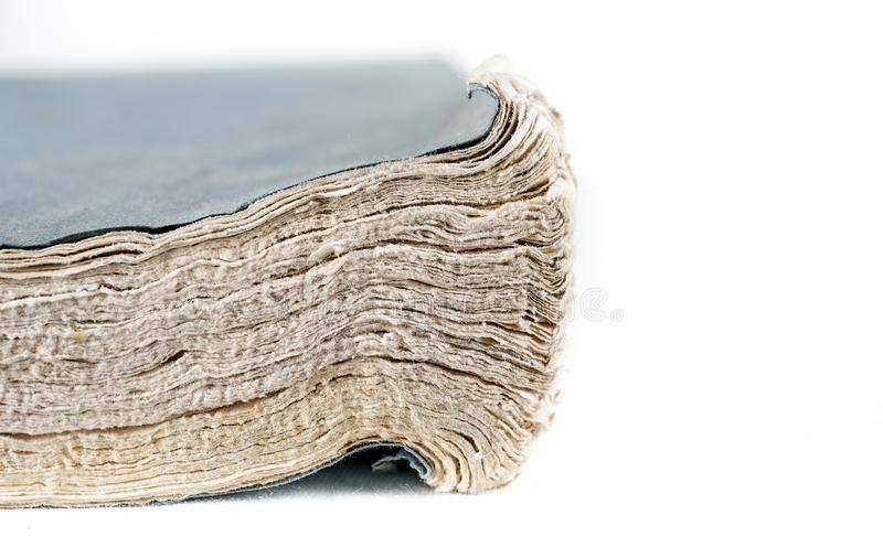 Close up of old textured paper , no waste , recycle paper concept. Pages of the old book royalty free stock image