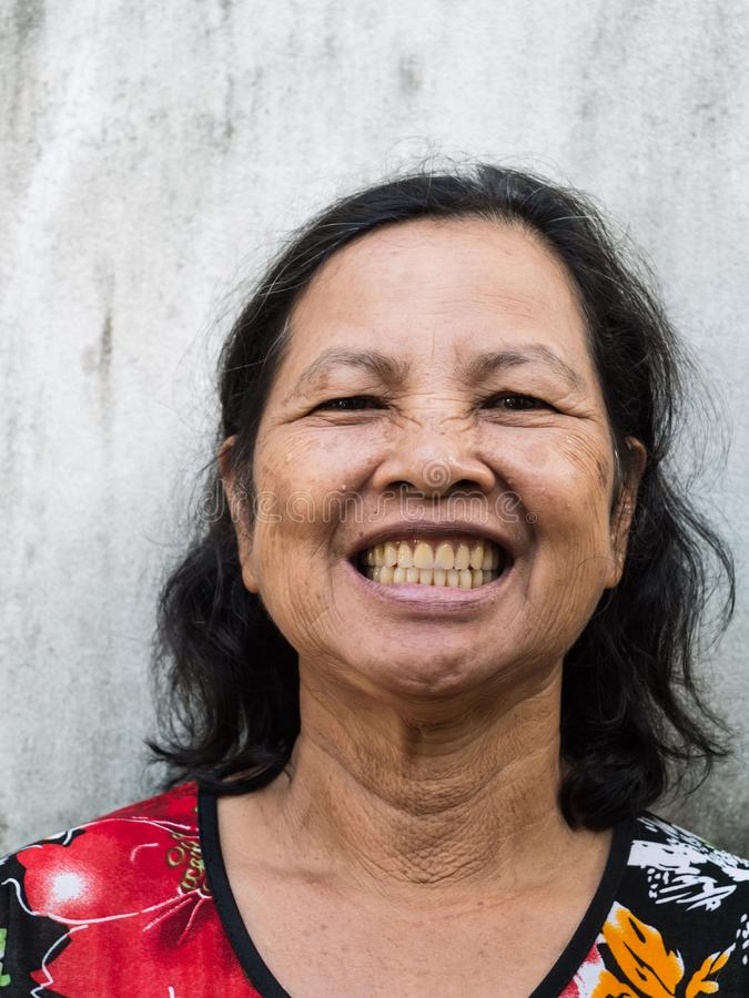 Close up old Thai woman portrait smiling stock photos