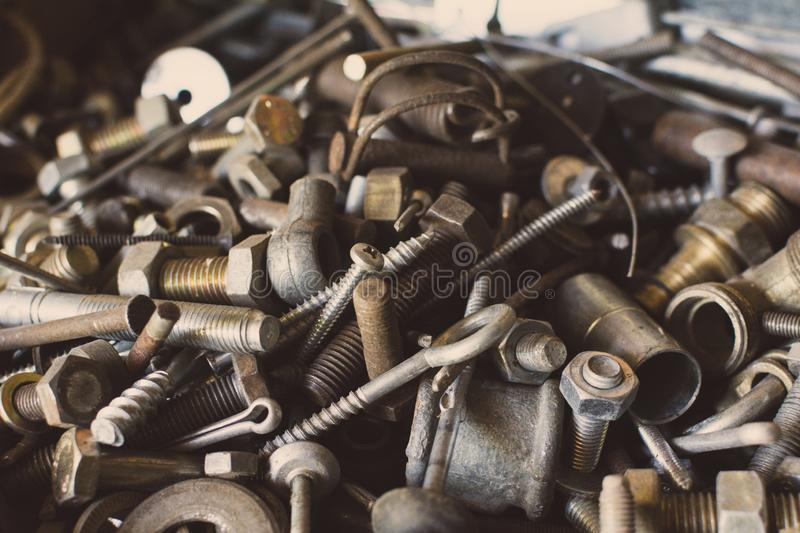 Used spare part, rust bolts and knots many sizes royalty free stock photography