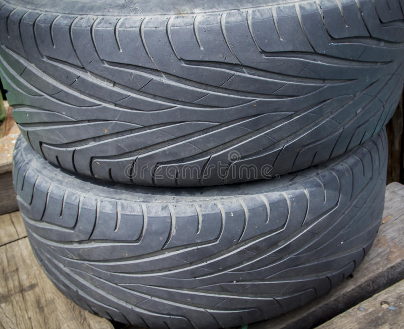 Close up of old used tire texture stock image