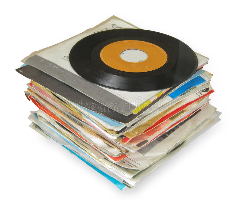 Close up of Old Vinyl Records. Isolated on white stock photography
