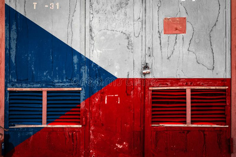 Close-up of old warehouse gate with national flag. Of Czech Republic. Concept of Czech Republic export-import, storage of goods and national delivery of goods vector illustration