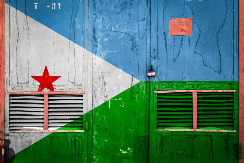 Close-up of old warehouse gate with national flag. Of Djibouti. Concept of Djibouti export-import, storage of goods and national delivery of goods. Flag in vector illustration