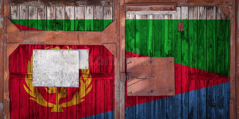 Close-up of old warehouse gate with national flag. Close-up of old warehouse gate with the national flag of Eritrea. The concept of export-import Eritrea vector illustration