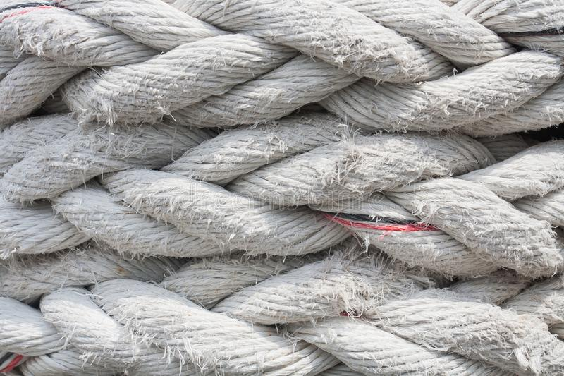 Close up old white giant fiber rope Background royalty free stock images
