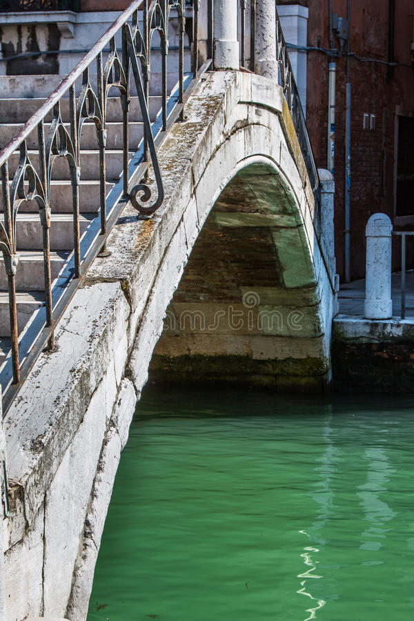 Close up of Old and White Marble Bridge in Venice, Italy royalty free stock photo