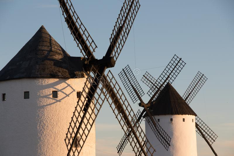 Close up of old windmill in Alcazar de San Juan, Route of Don Quixote, Spain. Close up of old windmills in alcázar de San Juan, Castilla la Mancha, Spain. Route stock photos