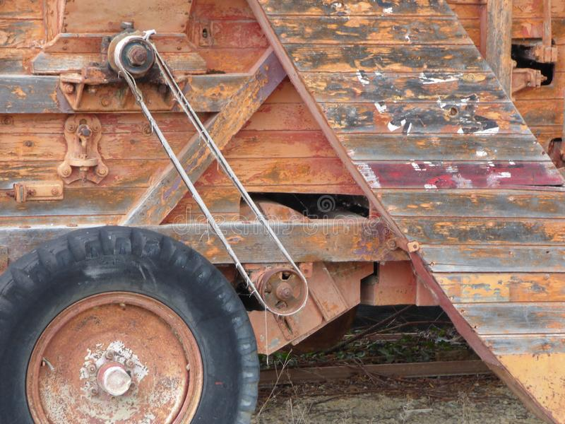 Close up of an old wooden harvester on a farm in Tuscany Italy stock photo
