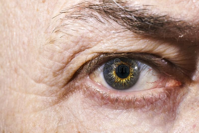 Close up of an older man`s eye stock photography