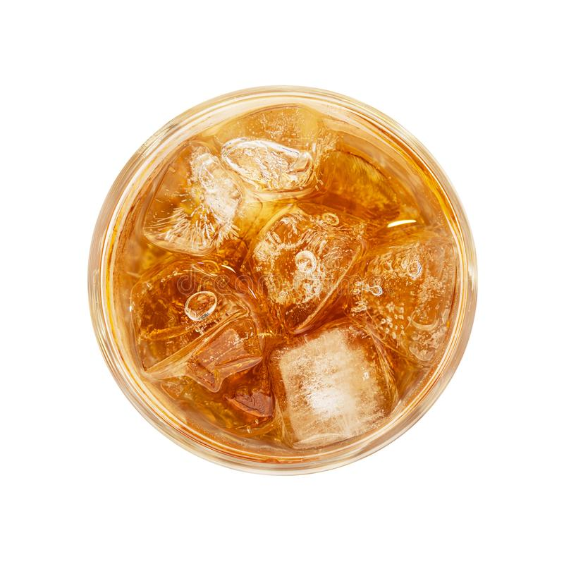 Glass of ice tea isolated on white royalty free stock photo