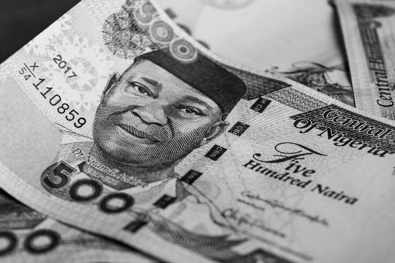 Close up of one thousand Naira notes Nigerian currency. For financial and banking concept in Nigeria stock image