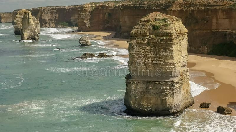 Close up of one of the twelve apostles on the great ocean road. Close up of one of the twelve apostles at port campbell on the great ocean road in victoria stock images