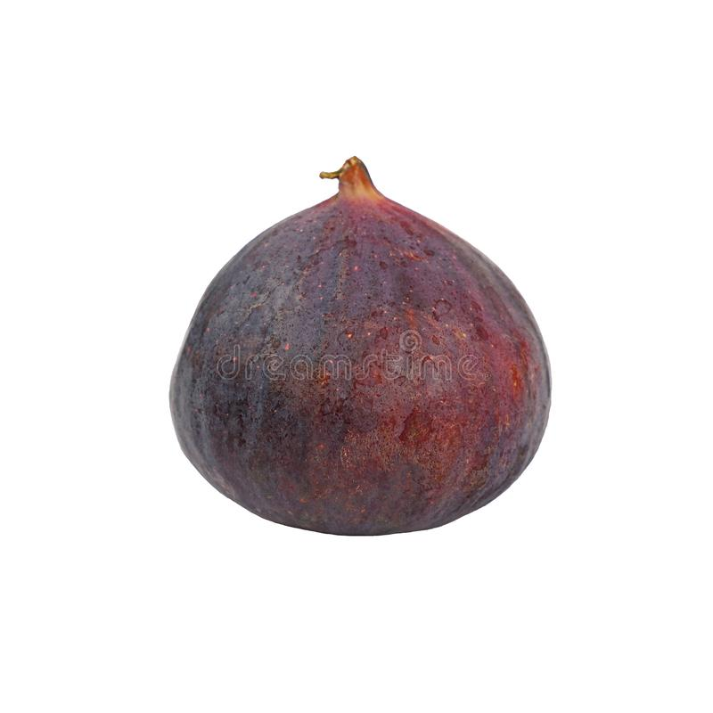 Close up one whole ripe fig isolated on white stock photography