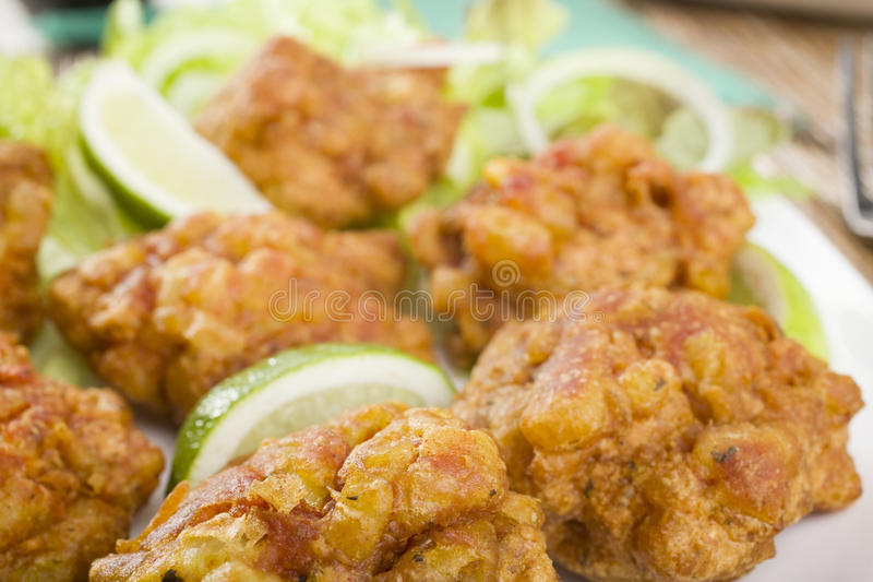 Close Up of Onion Bajias stock photography